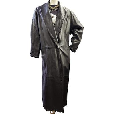 '80s Oversize Maxi-Length Leather Coat
