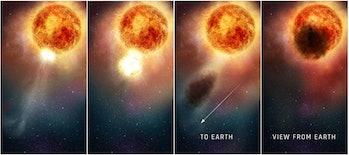 illustration of betelgeuse shedding dust