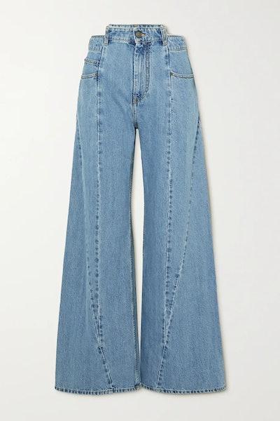 Décortiqué paneled high-rise wide-leg jeans