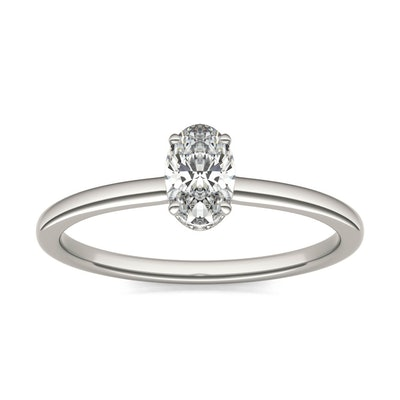 Oval Caydia Lab Grown Diamond Hidden Halo Solitaire Ring