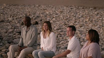 James Pickens Jr. as Richard Webber, Ellen Pompeo as Meredith Grey, T.R. Knight as George O'Malley, and Chandra Wilson as Miranda Bailey in 'Grey's Anatomy' Season 17 via ABC's press site
