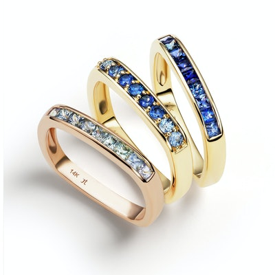 Cirque Small Square Stacking Bands with Blue Sapphires