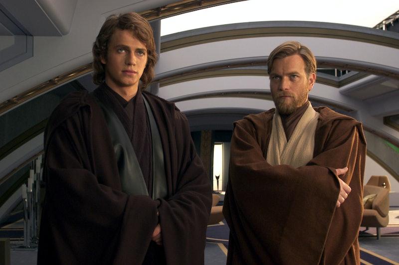 Ewan McGregor as Obi-Wan Kenobi and Hayden Christensen as Darth Vader.