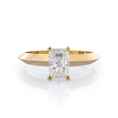 Knife Edge Solitaire Lab Diamond Engagement Ring