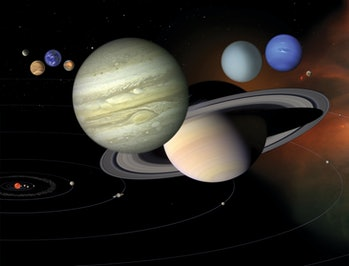 artist's rendering of the solar system
