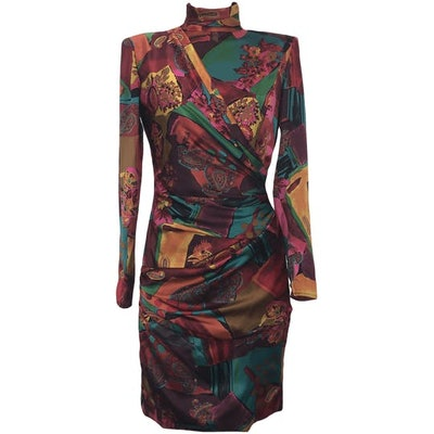 '80s Floral and Paisley Mock-Neck Fitted Dress