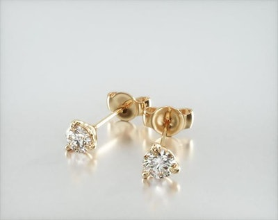 14K Yellow Gold Three Prong Martini Round Brilliant Lab Created Diamond Earrings