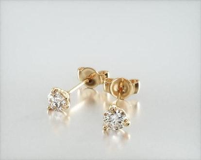 14K Yellow Gold Three Prong Martini Round Brilliant Lab Created Diamond Earrings