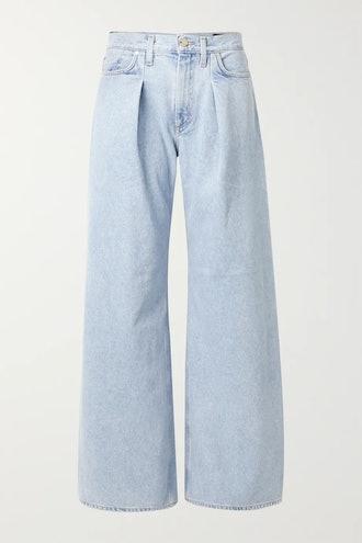 + NET SUSTAIN pleated high-rise wide-leg jeans