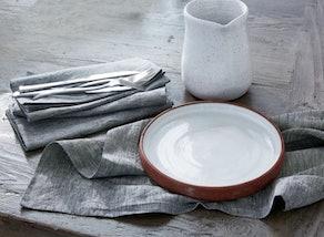 Organic Linen Napkin Set in Charcoal Chambray