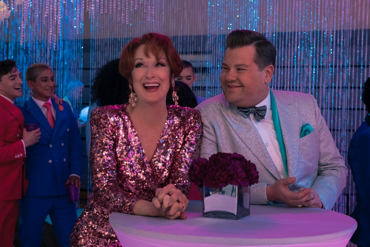 Meryl Streep and James Corden in The Prom.