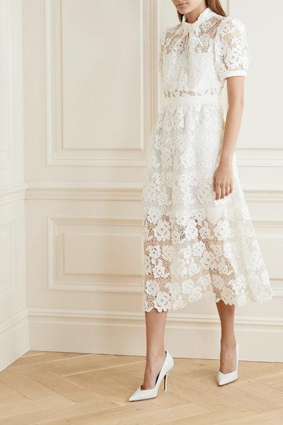 Grosgrain-Trimmed Guipure Lace Midi Dress
