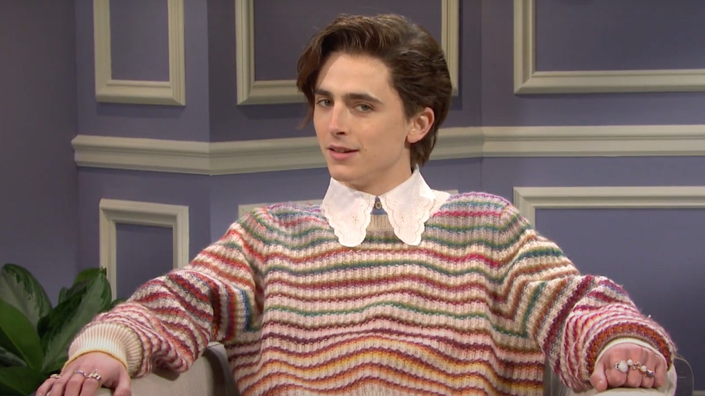 Timothée Chalamet played Harry Styles during his Saturday Night Live appearance.