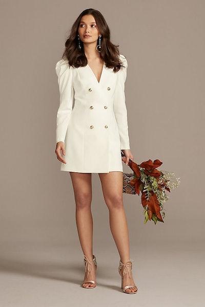Button Front Long Sleeve Blazer Dress