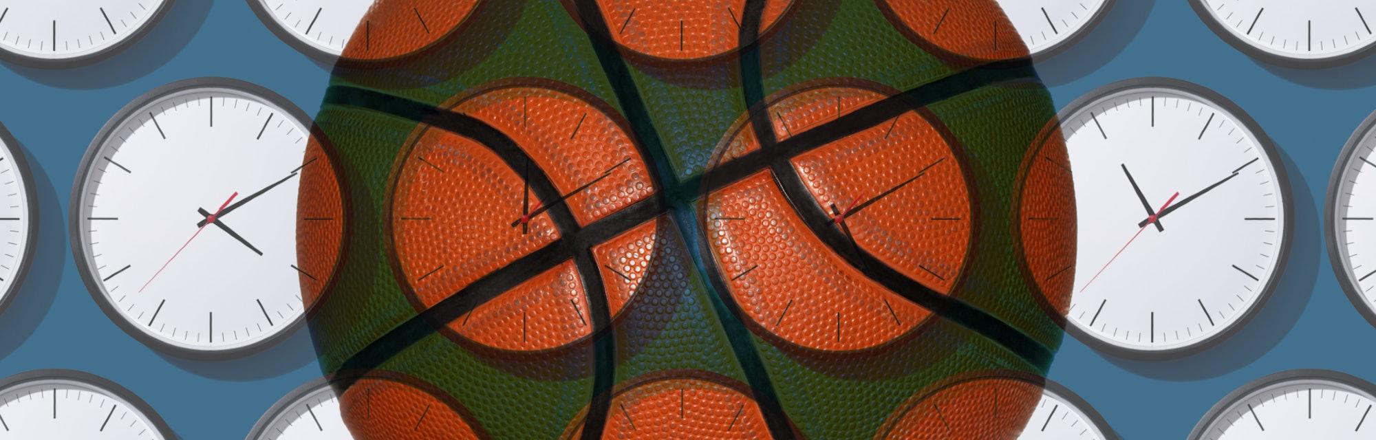 basketball, clocks
