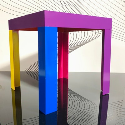 Memphis Inspired Jewel Tone Parsons Style Side Table