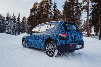 Prototype of a Mercedes-Benz EQB electric SUV in a snow environment.