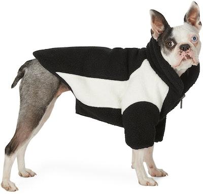 Reversible Black & Off-White Oversized Fleece Dog Jacket