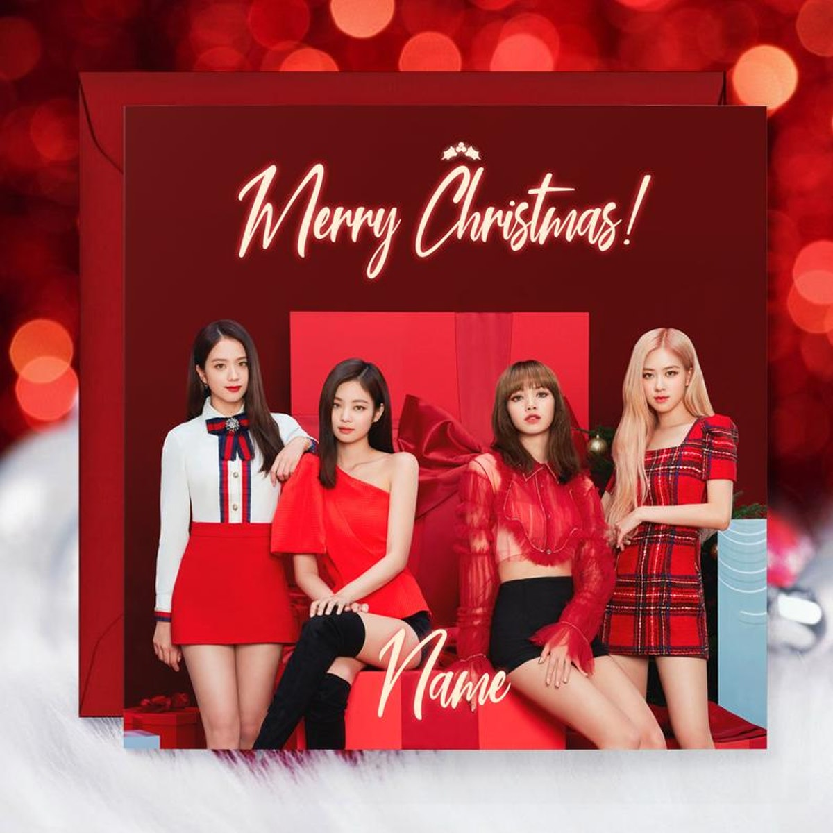 Blackpink Christmas Card Personalized, Rosé, Lisa, Jennie, Jisoo, Kpop, Kpop Christmas, Kpop Christmas Cards, Blackpink Christmas