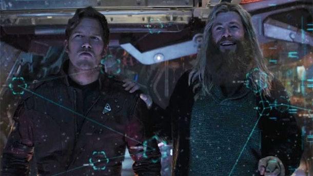 Chris Pratt and Chris Hemsworth as Star lord and Thor in Avengers: Endgame