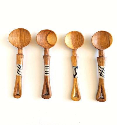 Mini Olive Wood Spoons Bone Inlay