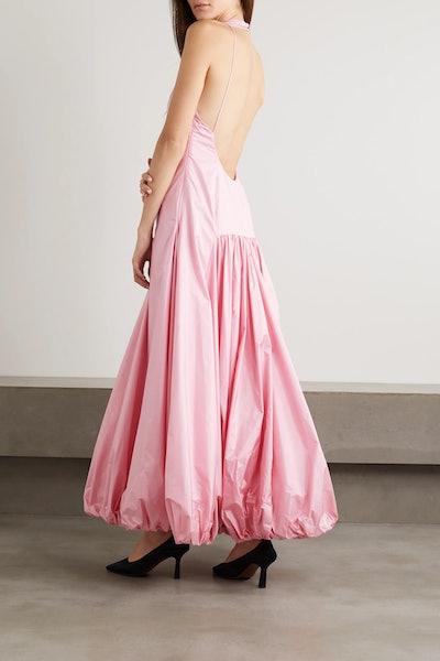 Juliet Open-Back Ruched Silk-Taffeta Maxi Dress