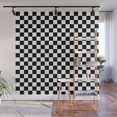 Black and White Checkerboard Pattern Wall Mural