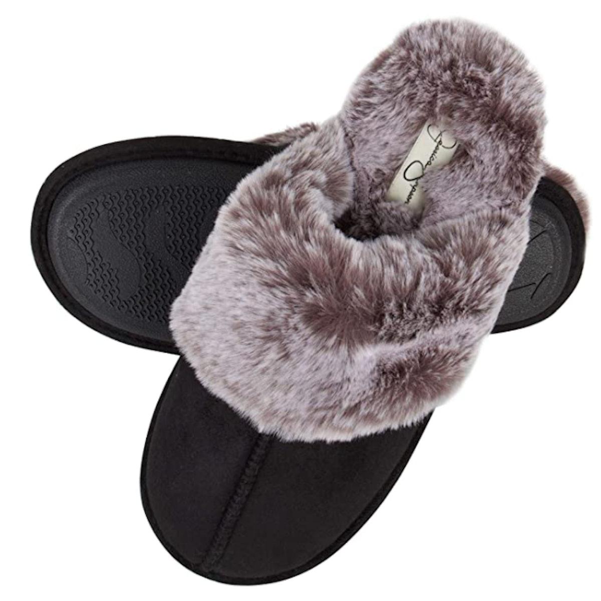 Jessica Simpson Memory Foam Faux Fur Slippers