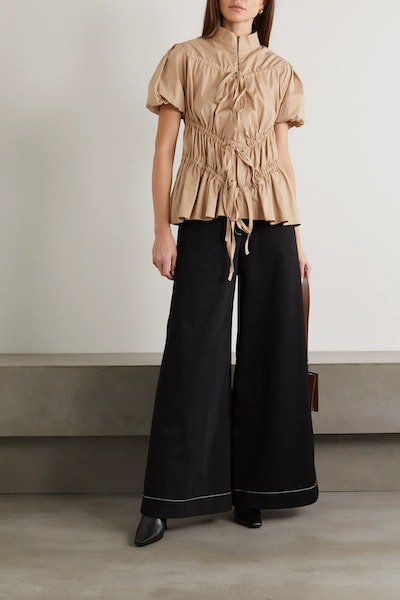 Crimes Tie-Detailed Ruched Cotton-Blend Top