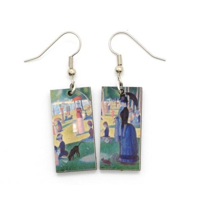 Seurat Impressionism Art Earrings, A Sunday Afternoon, Famous Painting