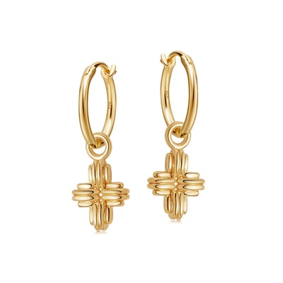 Gold Mini Ridge Cross Charm Hoop Earrings