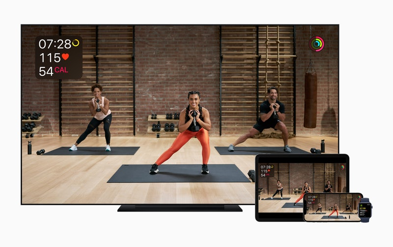 Screenshots of Apple Fitness+ on Apple TV, iPad, iPhone. Apple's new streaming workout service goes live today.