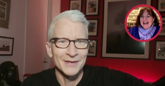 Anderson Cooper smiles as he speaks to cookbook author Ina Garten in a virtual interview.