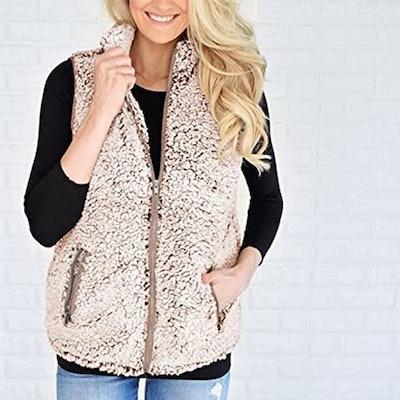 MEROKEETY Sherpa Fleece Vest