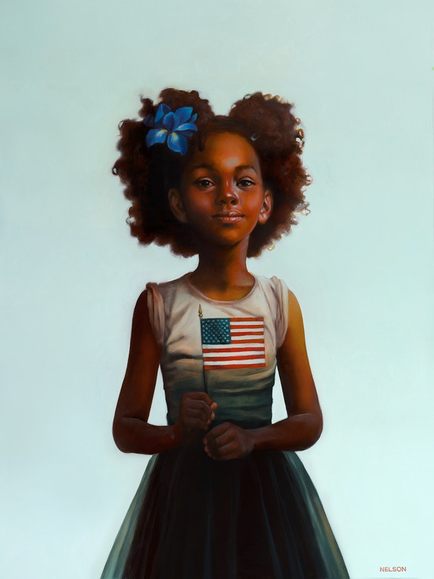 Award-winning artist Kadir Nelson celebrates the 2020 Presidential Election with a glowing painting of a proud young girl holding an American flag. Her beautiful crown is adorned with a blue iris (a symbol of hope and faith) and her sleeves are rolled up, a sweet reminder of the importance of social and political movements, and the hard work necessary to maintain liberty, justice, and equality for all people.