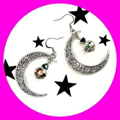 Rainbow Glass Crescent Moon Earrings