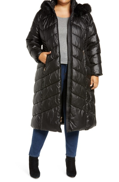 Long Quilted Parka with Faux Fur Trim