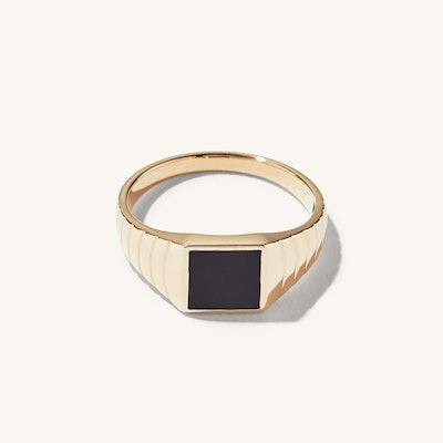 Black Onyx Square Signet Ring