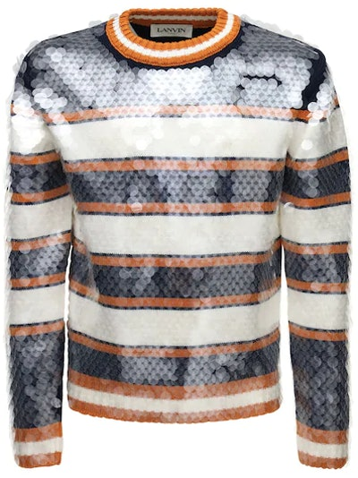 Lanvin Sequined Striped Wool Knit Sweater