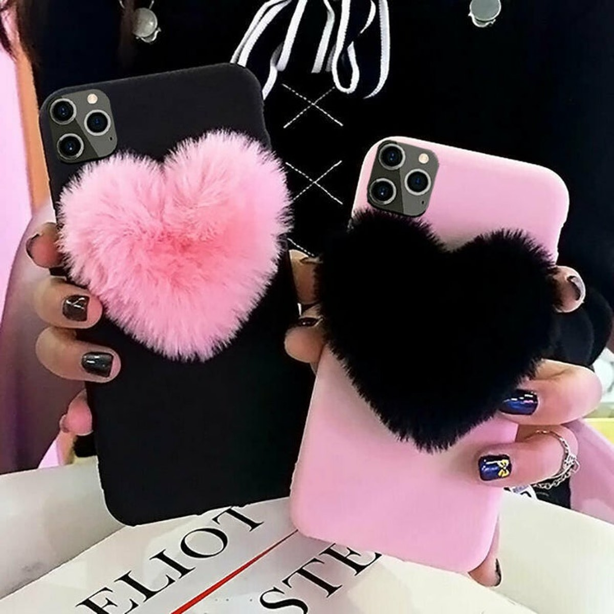 Fuzzy Heart iPhone 12 Pro Mini Max iPhone 7 8 11 Plus Xr Xs TPU Frame Protective Case Cover BlackPink Ships from USA