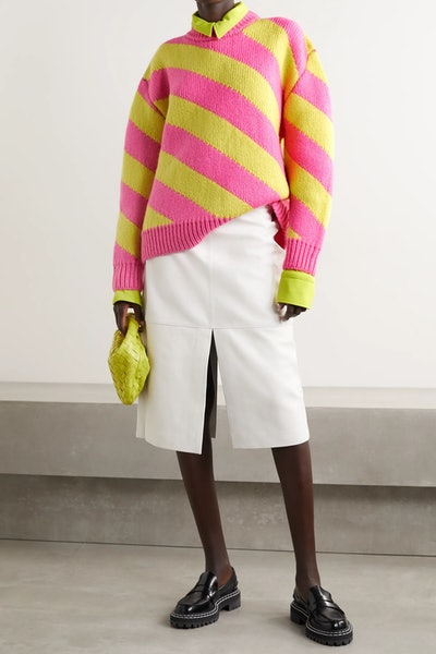Oversized Striped Wool Sweater