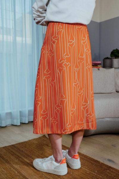 Bone Print Midi Skirt