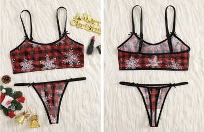 Christmas Snowflake Plaid Lingerie Set