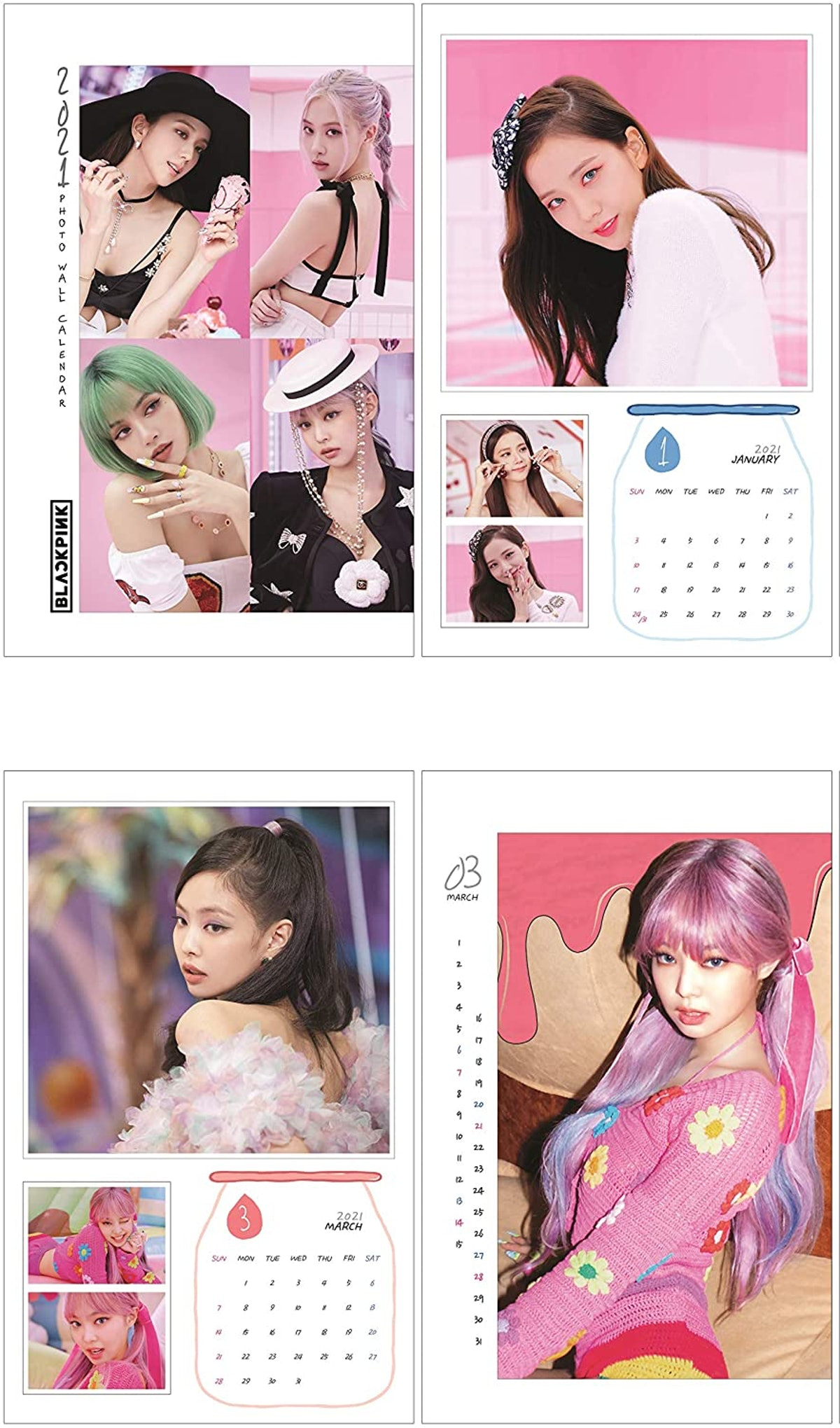 BLACKPINK 2021 New Wall Calendar + IDOLPARK Gift (Special Blackpink Photocards set)