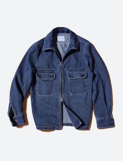 Sentibones Denim Zip Up Shirt Jacket