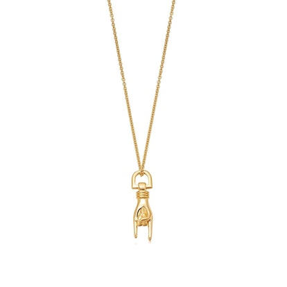 Gold Rock On Charm Necklace