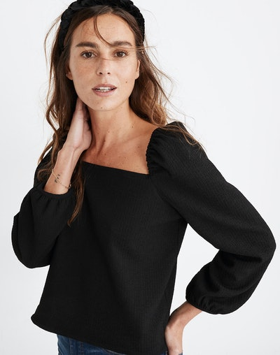 Crepe Square-Neck Puff-Sleeve Top