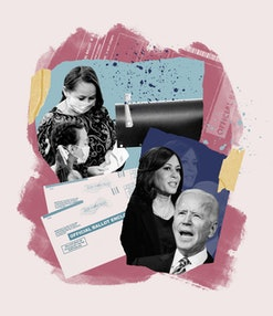 A collage illustration featuring a masked mom and daughter with a mail box, mail-in voting forms, and Kamala Harris and Joe Biden.