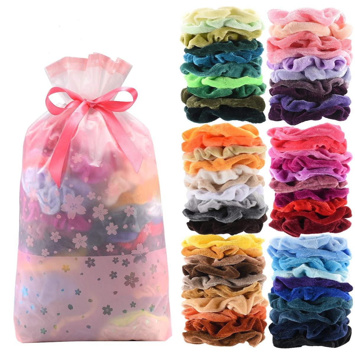 SEVEN STYLE 60 Pcs Premium Velvet Hair Scrunchies