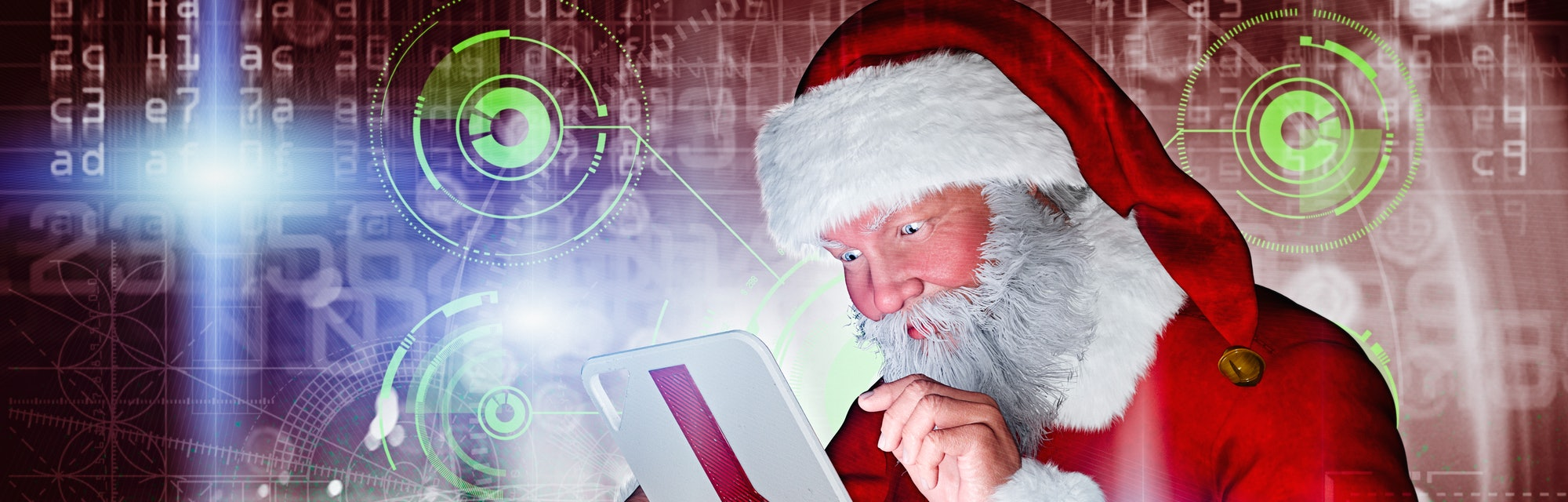 creepy santa holds an ipad in a dystopian future